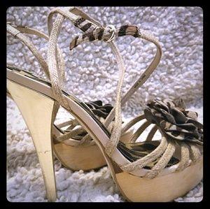 Bebe gold and leopard print heels, 7.5